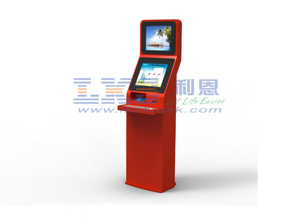 Interactive Information Payment Dual Screen Kiosk With Receipt  Printer Machine
